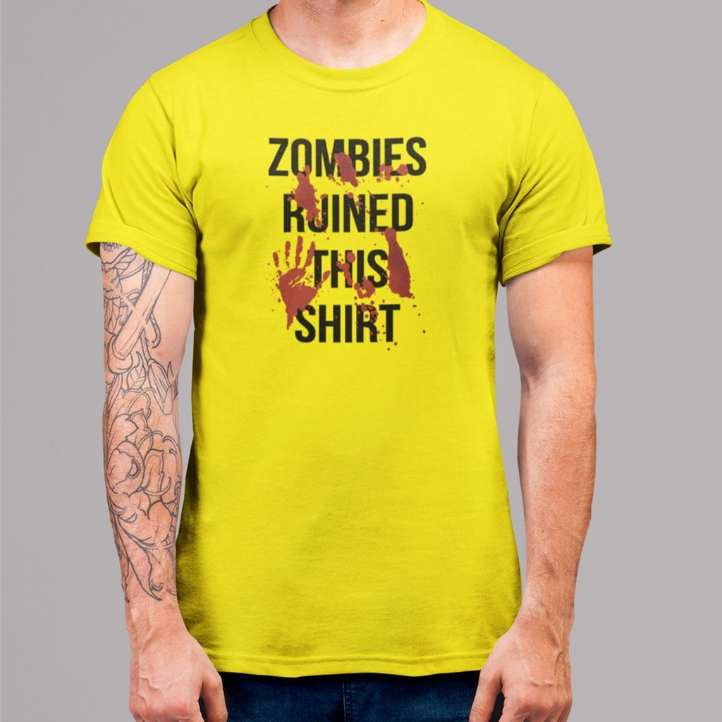 "Camiseta de hombre con el texto ""Zombies ruined this shirt"""